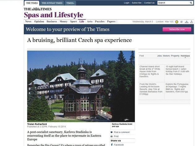 Elektronická verze článku o lázních Karlova Studánka v Jeseníkách na webu The Times.