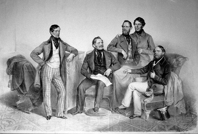Skupinový portrét bratří Kleinů (litografie Josepha Kriehubera, 1849)