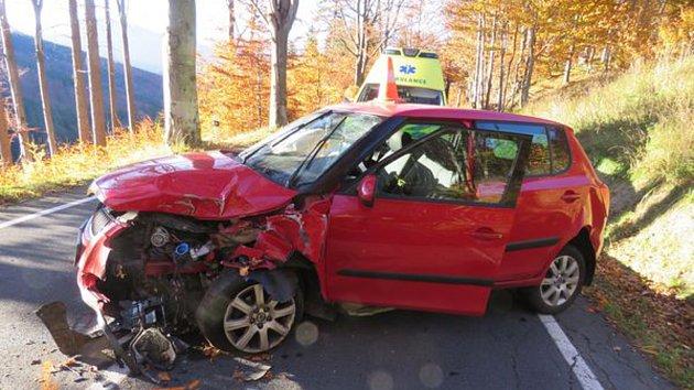 Nehoda u Bělé pod Pradědem 16.10. 2017