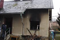 Vyhořelý dům v Rapotíně.