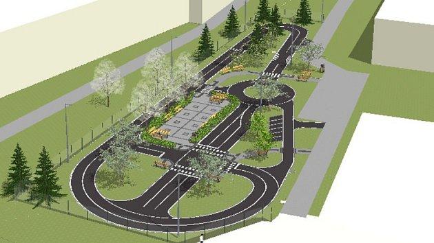 Vizualizace dopravního hřiště v areálu základní školy v ulici Boženy Němcové.