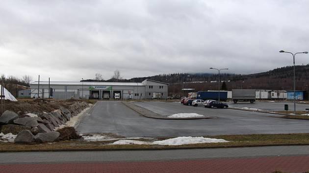 Průmyslová zóna Za Podjezdem v Jeseníku v únoru 2017.