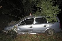 Havárie opelu mezi Sudkovem a Lesnicí