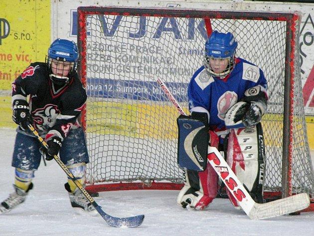 Na snímku jsou dva hráči z týmu Dráčat během tréninku.