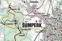 Mapa s přístupovými cestami na vrchol Háje nad Šumperkem