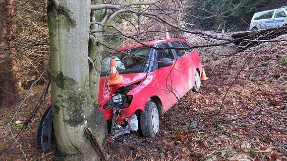 Nehoda v sobotu 25. března u Bělé pod Pradědem