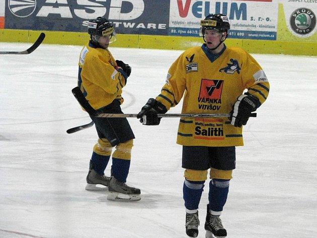Nejproduktivnější dvojice celé 1. juniorské ligy Radek Fischer (vlevo) a Matěj Pekr.