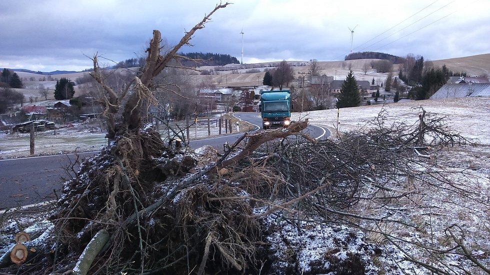 Následky vichřice mezi Kopřivnou a Bratrušovem na Šumpersku