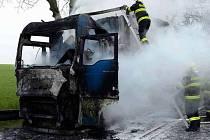 Požár kamionu v úseku mezi Mohelnicí a Moravskou Třebovou
