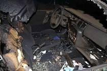 Požár auta v Mohelnici.