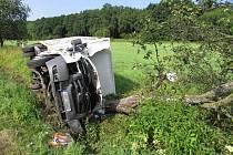 Řidič tranzitu narazil na silnici mezi Velkými Losinami a Loučnou nad Desnou do stromu poté, kdy mu před vůz vběhly dvě srny