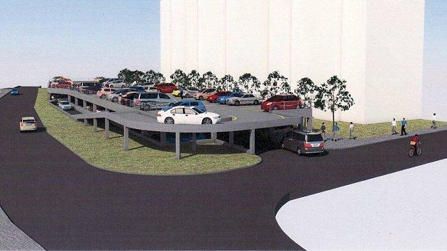 Vizualizace patrového parkování v Mohelnici
