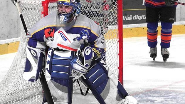 Gólman Draků Peter Betinec. Ten by měl být jednou z opor hokejistů i v první lize.