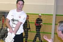 Gólman 1. FC Delta Real Šumperk Martin Gruntorád.