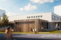 Vizualizace nové podoby kulturního domu. Pohled od pošty, přístavba v hnědé barvě.