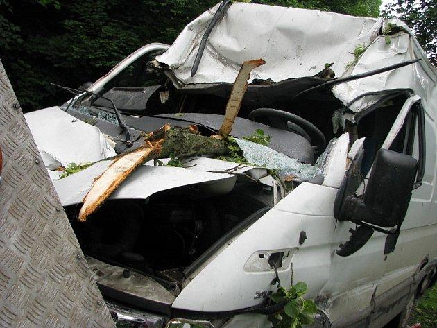 Takhle dopadlo iveco, na které za jízdy spadla silná větev