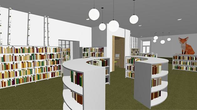 Vizualizace budoucí podoby interiéru knihovny v Jeseníku