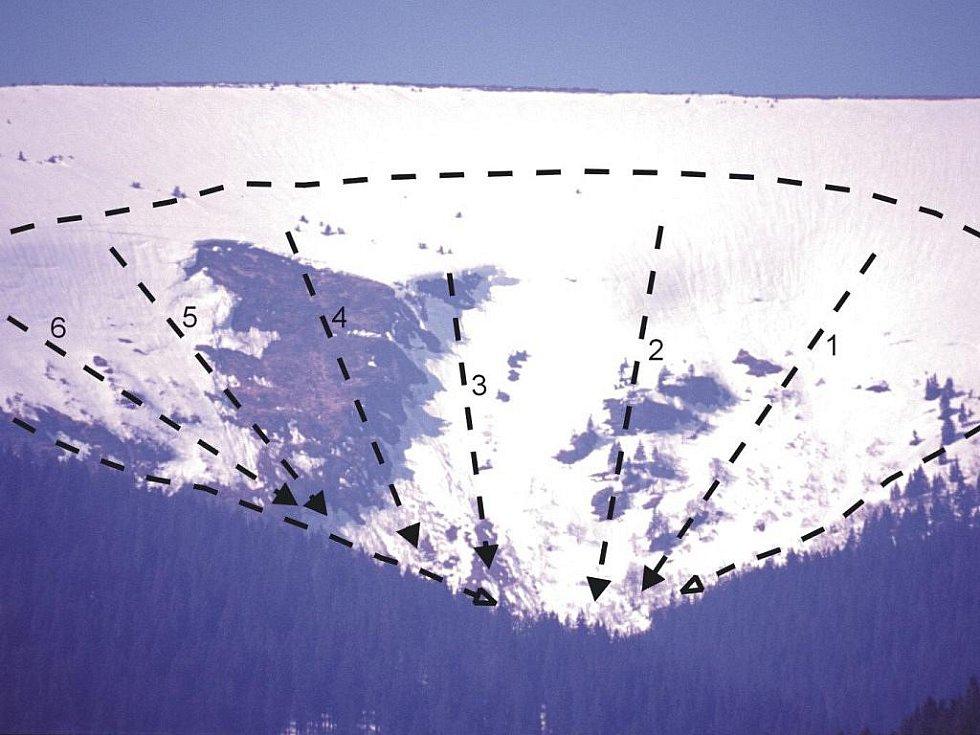 Horskou službou vyznačený plánek, kde se může utrhnout lavina