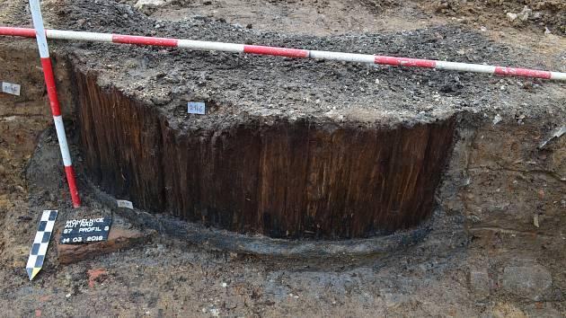 Snímek z archeologického průzkumu v centru Mohelnice
