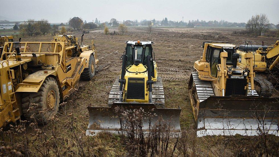 Příprava území pro výstavbu obchvatu Bludova - druhá půlka listopadu 2020