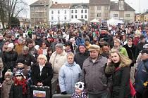 Rekordních patnáct posádek se letos postavilo na start závodu čtyřspřeží s lidskou posádkou, který se konal v neděli 16. února na Masarykově náměstí v Zábřehu.