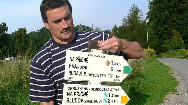 Šéf odboru Značkaři Šumperk-Jeseníky David Mičunek při práci v terénu
