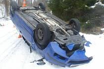 Nehoda v Petrovicích, místní části Skorošic, ve středu 27. ledna 2021.