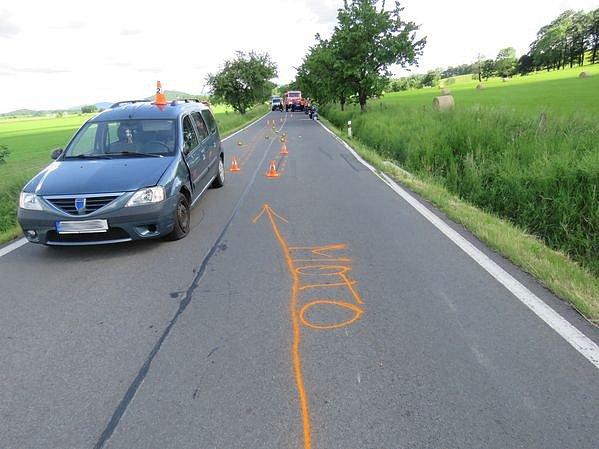 Havárie motorkáře u Vlčic