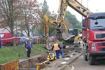 Práce na ulici Temenická v Šumperku.