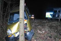 Auto se zastavilo až o strom.