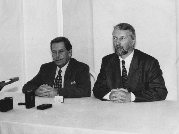Václav Havel na návštěvě Šumperku v roce 1993.