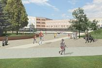 Vizualizace lokality před základní školou v Šumavské ulici, v místě se počítá s novými herními prvky i zelení.