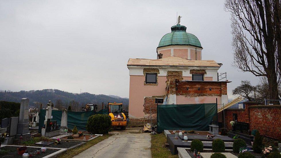 Rekonstrukce obřadní síně v Zábřehu, stav v únoru 2020.