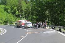 Nehoda motocyklu pod Červenohorským sedlem