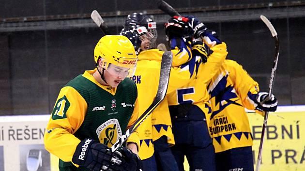 Junioři Šumperku slaví gól proti Vsetínu. Ilustrační foto