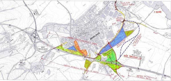 Nákres budoucího vedení rychlostní komunikace R35 kolem Mohelnice