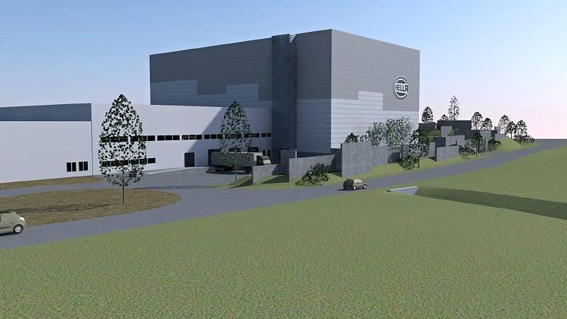 Vizualizace budoucího skladu společnosti Hella, pohled od ulice Za Penzionem.