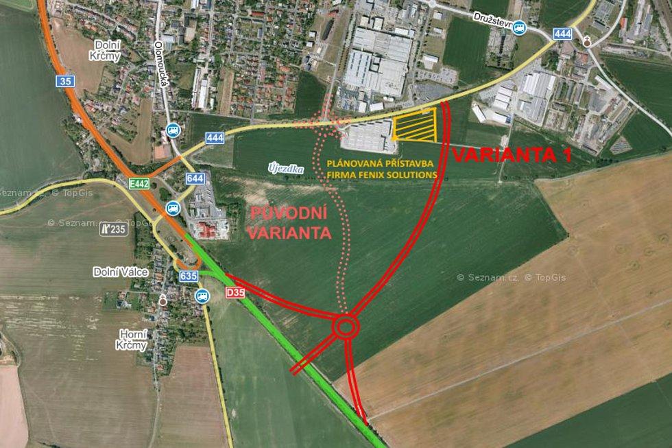 Současná plánovaná trasa jižního dálničního sjezdu v Mohelnici (čárkovaně) a alternativní návrh (plná čára)
