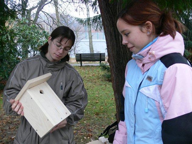 Hotové dílo. Studentky hodnotí právě dokončené ptačí obydlí.