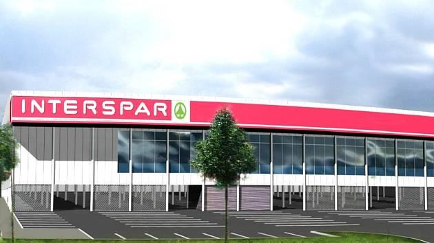 Studie budoucí podoby marketu Interspar v Temenické ulici v Šumperku.