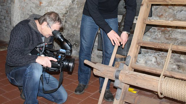 Natáčení dokumentu v Geschaderově domě v Šumperku.