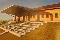 Takhle bude vypadat nová budova se šatnami, sociálním zařízením, hlasatelnou a tribunou