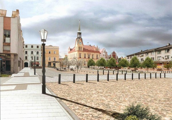 Vizualizace náměstí ve Vidnavě po rekonstrukci.