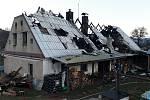 Dům rodiny Nakládalových zničený požárem.