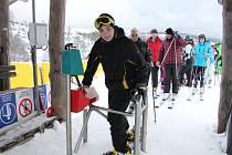 První lyžování v Jeseníkách v sezoně 2013/2014.