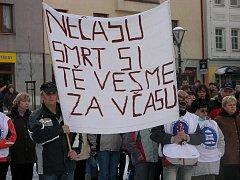 V Jeseníku na Masarykově náměstí se ve středu 8. prosince stávkovalo