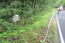 Třiatřicetiletý řidič nezvládl v sobotu 10. srpna sjezd z Videlského kříže do Bělé pod Pradědem. Přejel do protisměru a vjel do lesa. Lehce se zranil.
