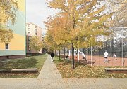 Vizualizace revitalizace sídliště Severovýchod v Zábřehu. Na prostranství za mateřskou školou vznikne nové hřiště.