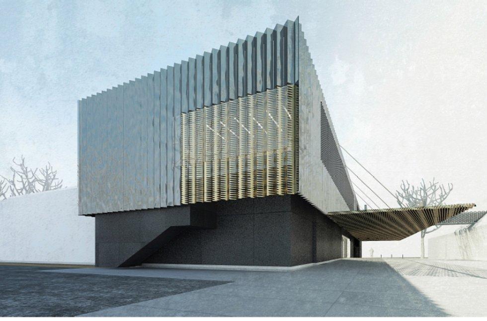 Budoucí kulturního domu v Šumperku, pohled z parku.