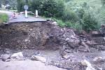 Oskava 17. června 2020, deset dní po bleskové povodni.